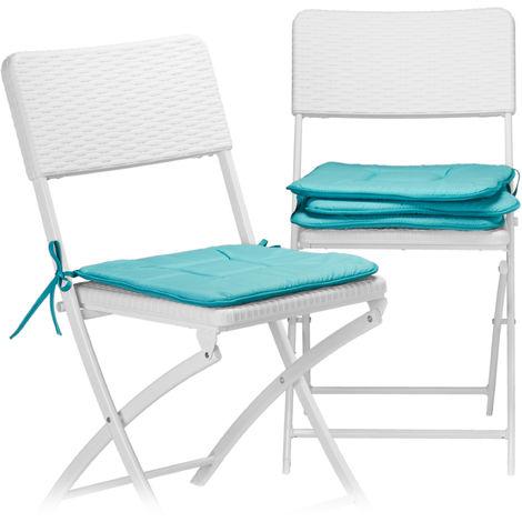 4 x Stuhlkissen, Sitzkissen mit Schleife, Auflage für Stühle, Haus und Garten, waschbar, Stuhlauflage Polyester, türkis