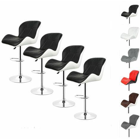 4 X Tabouret de Bar Chaises de Bar Dossier Rembourré Pivotantes et réglables en Hauteur Gris-Blanc - Gris-Blanc