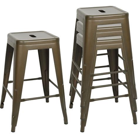 4 x Tabouret de Bar Industriel de 61 cm de Haut Chaise de Bar Cuisine Comptoir Bistro Café Métal Couleur Métal Bronze
