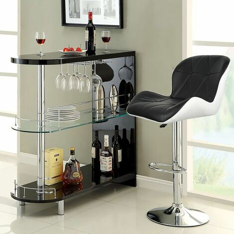 4 X Tabouret de bar maison Petit déjeuner Table pivotante réglable en hauteur Noir-Blanc - Noir-blanc