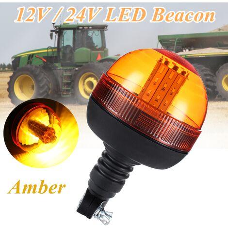 40 LED clignotant clignotant ambre gyrophare DIN lampe témoin d'avertissement de tracteur à montage sur poteau