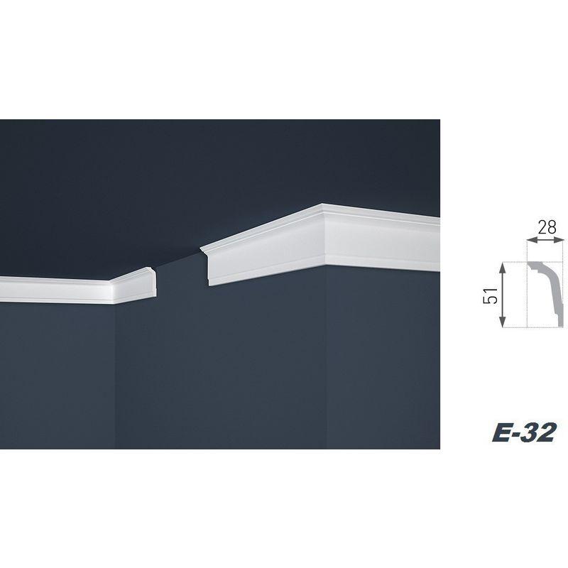 4 Ecken Zierprofile Eckleisten Polystyrol Stuck hart 28x51mm E-32 30 Meter