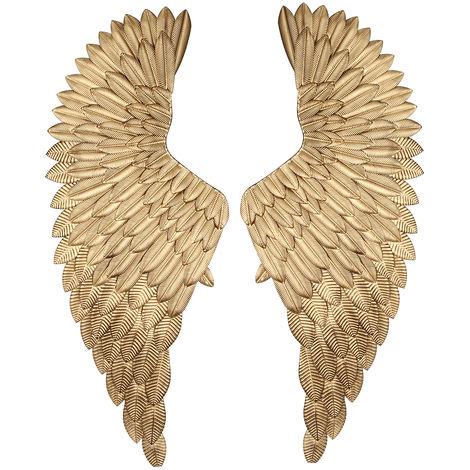40 '' Pair Big Angel Wings Jesus Golden Metal Chic Wall Hanging Art Home