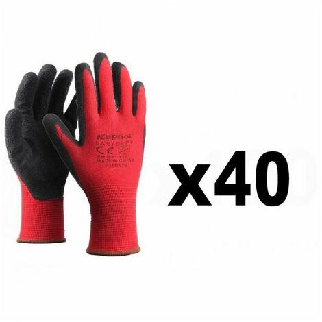 40 Paires de gants de protection manutention générale SMART GRIP rouge KAPRIOL - plusieurs modèles disponibles
