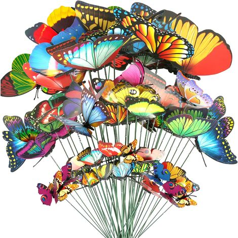 40 Pcs Butterfly Stakes, 5 Different Size Waterproof Butterflies Stakes Garden Ornaments & Patio Decor Butterfly Party Supplies Yard Stakes Decorative for Outdoor Christmas Decorations