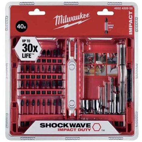 40 pieces set MILWAUKEE SHOCKWAVE - screwing ends 4932430908