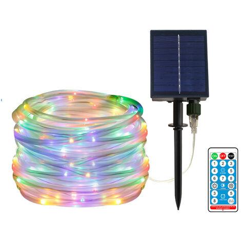 40 pies / 100leds con energia solar secuencia del LED LED remoto Control de color Cambio de 8 modos de cobre de alambre decorativo de Navidad luces decorativas de la lampara a prueba de agua Cadena Hada de luz montado en la pared Estaca fiesta de la boda
