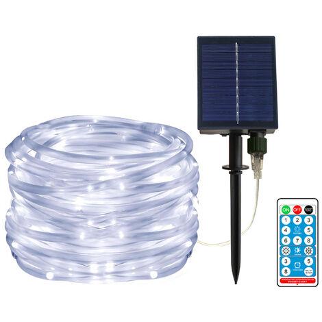 40 pies / 100leds con energia solar secuencia del LED LED remoto Control de color Cambio de la lampara 8 secuencia de hadas impermeable Modos de cobre de alambre decorativo de Navidad luces decorativas, blanca