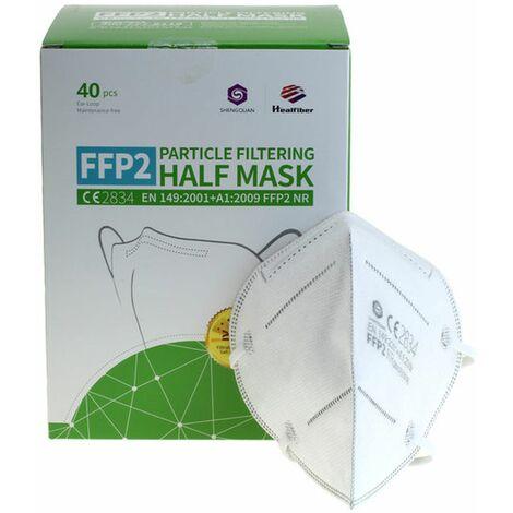 40 Stück FFP2 Maske 5-Lagig ohne Ventil, Monatspackung, zertifiziert nach DIN EN149:2001+A1:2009, partikelfiltrierende Halbmaske, FFP2 Schutzmaske