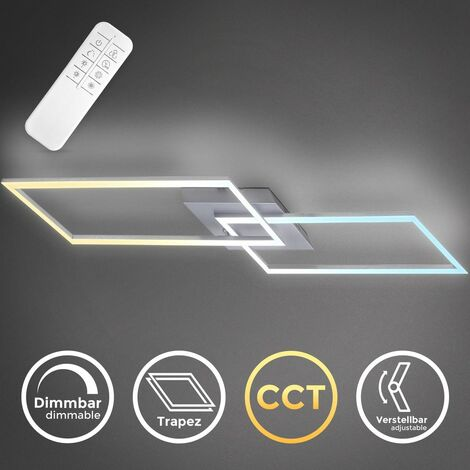 40 Watt LED lámpara de techo I montaje giratorio I temperatura de color infinitamente variable I función de luz nocturna I control remoto I aluminio cepillado