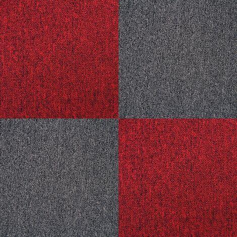 "main image of ""40 x Carpet Tiles 10m2 / Charcoal Black & Scarlet Red"""