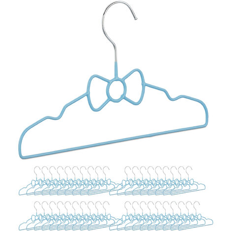 40 x Children's Coat Hangers Bow, Compart Wire Holders, PVC-Coating, 30 cm, Blue