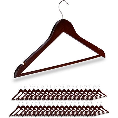 40 x Kleiderbügel Holz, Kerben, Hosensteg, Garderobenbügel, 360° drehbarer Haken, Holzbügel, 44,5 cm breit, braun