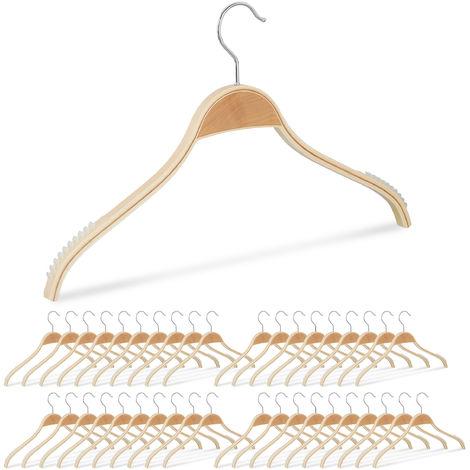 40 x Kleiderbügel Holz, rutschfeste Lamellen, natürliche Optik, 360° drehbarer Haken, stabil, 40 cm, Holzbügel, natur