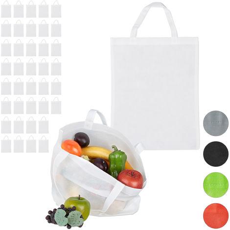 40 x Stoffbeutel, unbedruckt, zum Einkaufen, kurze Henkel, große Einkaufsbeutel H x B: 49,5 x 40 cm, Stofftasche, weiß