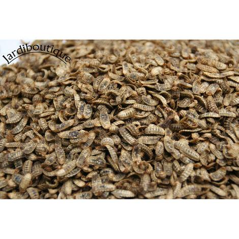 400 gr de suplemento alimenticio de larvas enteras de insectos deshidratados (mosca soldado).
