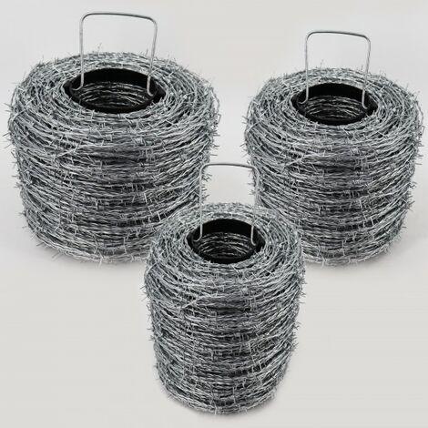 400 m fil de fer barbelé galvanisé, 1,6 / 1,7 mm pour clôture de protection contre la faune sauvage, clôture forestière, grillage noué