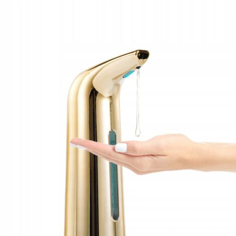 400 ml contactless automatic soap dispenser, automatic hand disinfectant distributor, alcoholic gel dispenser, gold, 21,4x11,6x7 cm