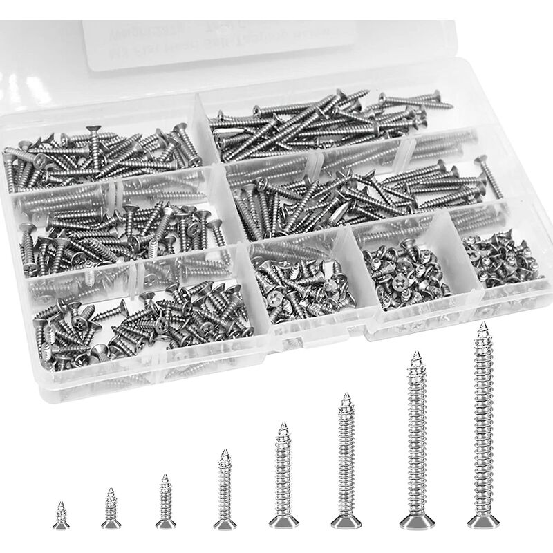 Briday - 400 PCS M3 Stainless Steel Self-Tapping Screws Cruciform Head, Self-Tapping Screws Screws M3 x 6mm / 8mm / 10mm / 12mm / 16mm / 20mm / 25mm