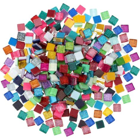 400 Pièces/ 300 g Carreaux de Mosaïque Couleurs Assorties Briller Cristal Mosaïque Décoration de la Maison pour DIY Fourniture d'Artisanat, Carré, 1 par 1 cm