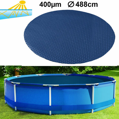 400µm Pool Solarplane Poolheizung Solarfolie Abdeckung Rund Blau Schwarz 488cm