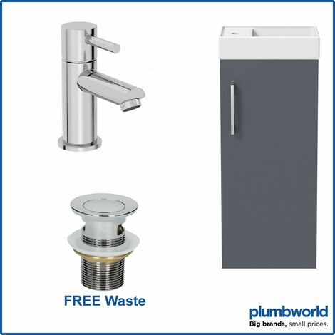400mm Bathroom Basin Sink Vanity Unit Furniture Grey Round Mixer Tap FREE Waste