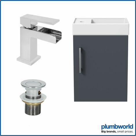 400mm Bathroom Basin Sink Vanity Unit Wall Hung Grey Waterfall Tap FREE Waste