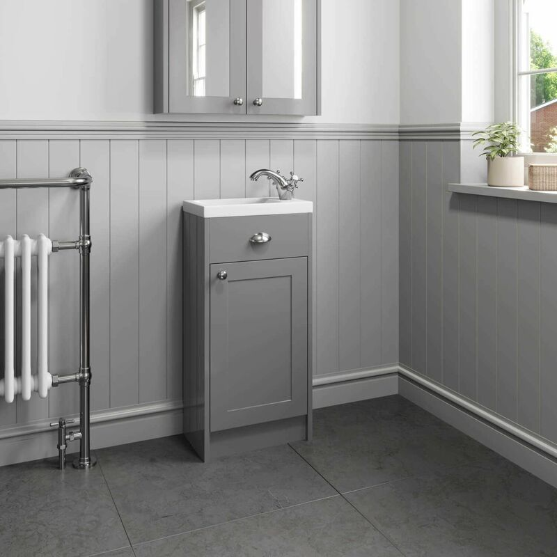 buy online 0d163 f00d6 400mm Bathroom Vanity Unit Basin Sink Cabinet Unit Grey Traditional