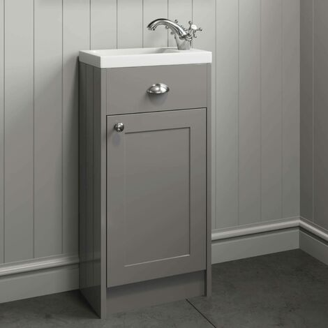 400mm Bathroom Vanity Unit Basin Sink Cabinet Unit Grey Traditional