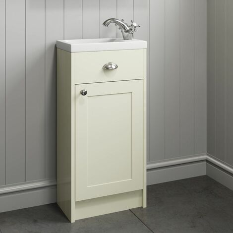 400mm Bathroom Vanity Unit Basin Storage Cabinet Ivory Traditional