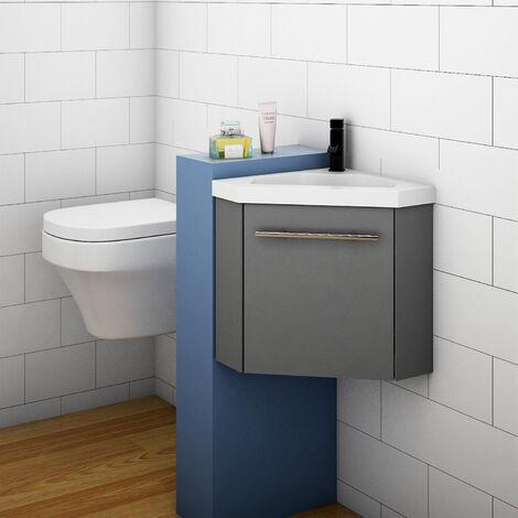 400mm White Cloakroom Bathroom Corner Sink Vanity Unit with Door Small
