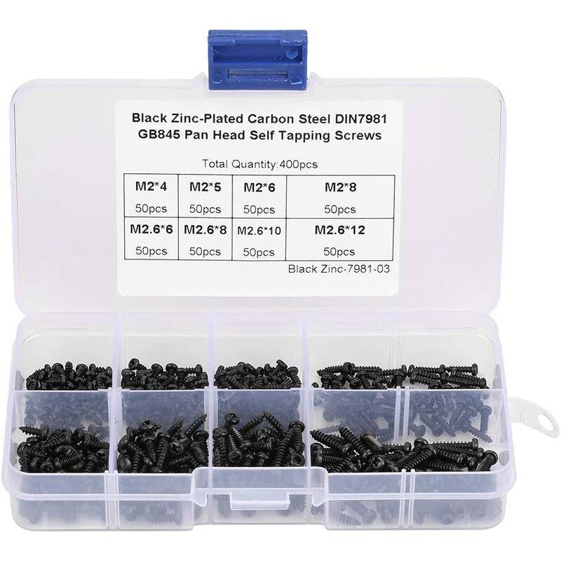 Briday - 400Pcs M2 / M2.6 Tapping Screw Set, Screw Assortment Kit & agrave; black transverse cylindrical head