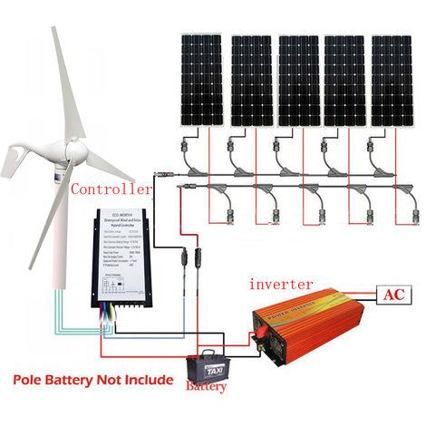 400W Wind Generator 3 Blade 5x 100W Mono Solar Panel 12V-220V 1KW Inverter green