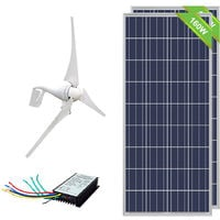 400W Wind Turbine + 20A Controller +2*160W Solar Panel for 24V Boat/Home Battery
