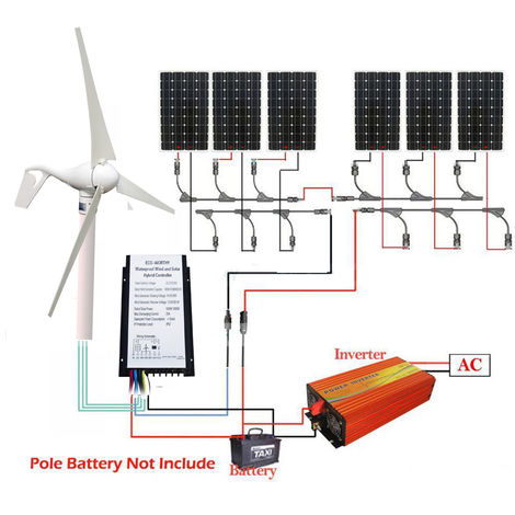 400W Wind Turbine Generator w/ 6*150W Solar Panel & 1500W Inverter for homes