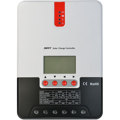 40A 12V / 24V MPPT Controlador de carga solar Regulador de bateria