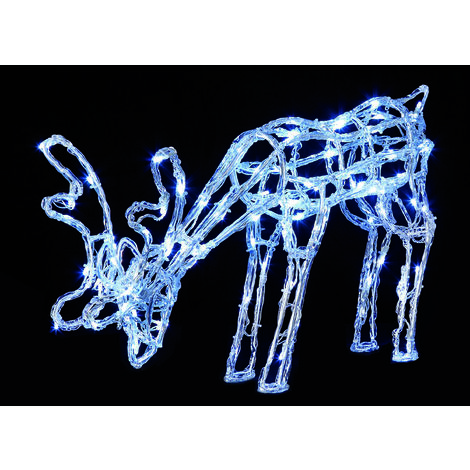 40cm Acrylic Grazing Reindeer with 90 White LED's