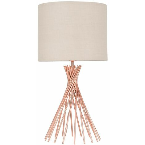 40Cm Copper Metal Twist Table Lamp + Beige Light Shade