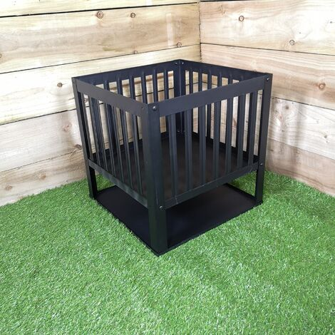 40cm Square Fire Pit Basket Garden Patio Wood Solid Fuel Burner