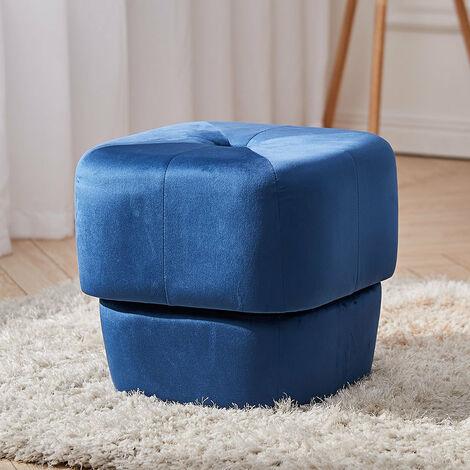 40CM Square Velvet Buttoned Footstool