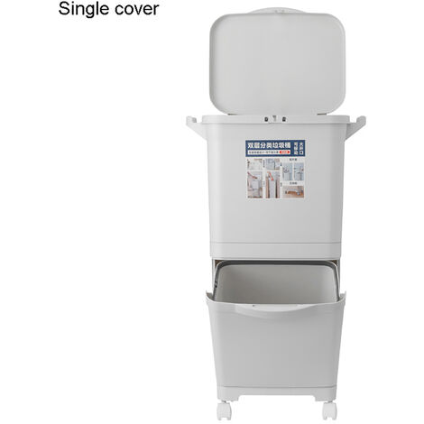 40L Capacity Trash Can Doubledeck Waste Sorting Bins Kitchen Dustbin 45x75CM Grey