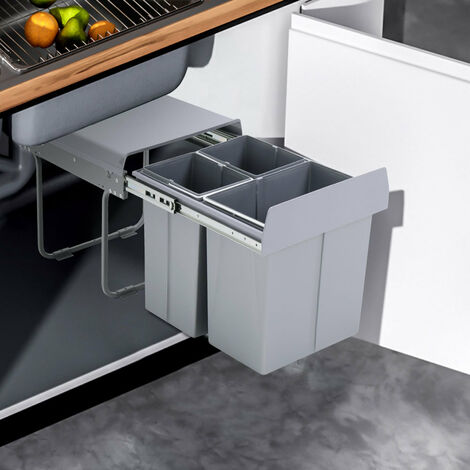 40Litre Pulll Out Recycling Waste Bin Kitchen Cabinet Base Unit 400mm Soft Close