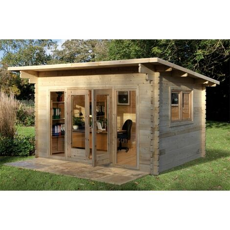 4.0m x 3.0m Pent Stylish Log Cabin With Glazed Double Doors - 44mm Wall Thickness **Includes Free Shingles**