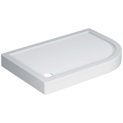40mm Pearlstone 1200 x 800 Right Hand Offset Quadrant Shower Tray & Plinth