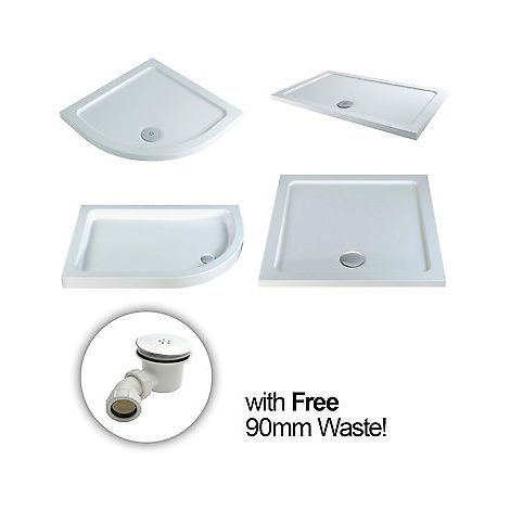 40mm SQUARE RECTANGLE OFFSET QUADRANT TRAY FOR SHOWER ENCLOSURES *FREE WASTE*[1400x900 Rectangle]