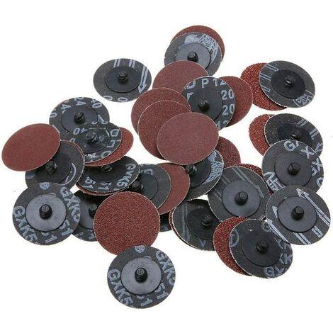 40pcs 2 pouces 40 # x10 + 2 pouces 60 # x10 +2 pouces 120 # x10 + 2 pouces 240 # x10 Grit Roll Lock Disques Ponçage R Type Pads Abrasif de Sablage