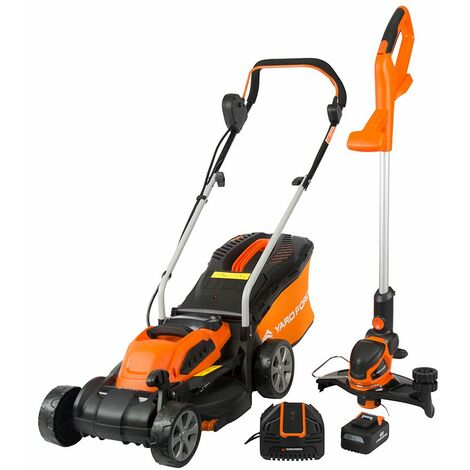 40V Li-Ion Cordless Battery 32cm Rotary Lawnmower and Grass Trimmer Twinpack by Yard Force