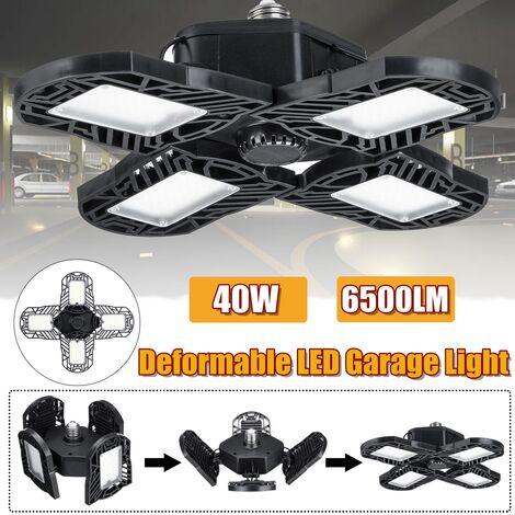 40W E27 Luz de garaje LED Lámpara de techo aplastable Luces de taller Lámpara de taller (Negro, A-40W)