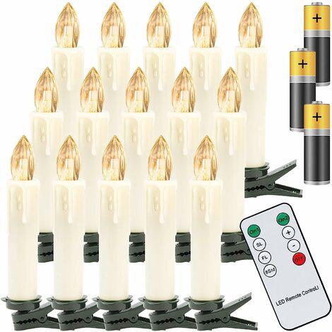 40x Bougies de Noël LED, bougies de sapin de Noël blanc chaud sans fil, avec télécommande et piles, bougies LED dimmable, IP44, pour sapin de Noël, décorations de Noël