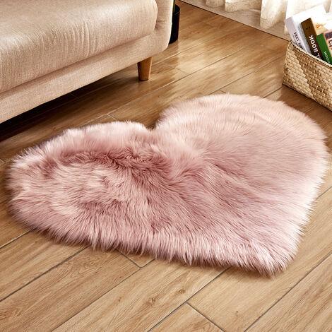 40x50CM Heart Fluffy Fur Rug Faux Washable Sheepskin Mats Rugs